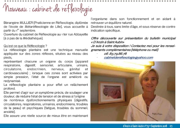 D'Anzin à Saint-Aubin Nouveau : Cabinet de réflexologie